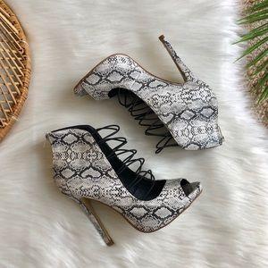 Shoe Republic LA Snakeskin Lace Up Heels Size 8